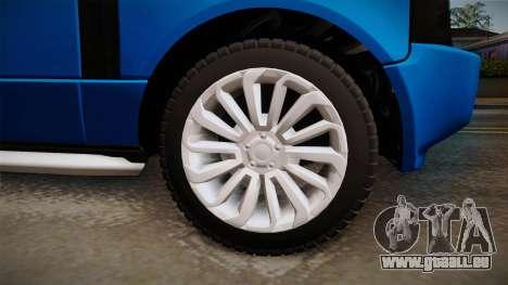 Range Rover 2008 für GTA San Andreas Rückansicht