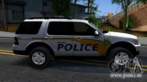 Ford Explorer Metro Police 2009 pour GTA San Andreas laissé vue