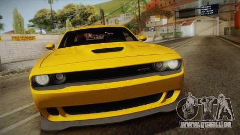 Dodge Challenger Hellcat 2015 für GTA San Andreas rechten Ansicht