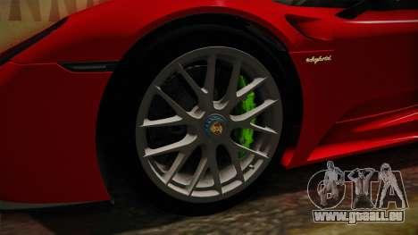 Porsche 918 Spyder 2013 Weissach Package SA pour GTA San Andreas vue arrière