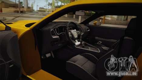 Dodge Challenger Hellcat 2015 für GTA San Andreas Innenansicht