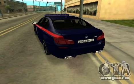 BMW M5 F10 für GTA San Andreas zurück linke Ansicht