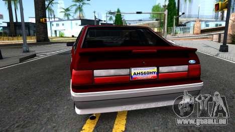 Ford Mustang 1993 für GTA San Andreas zurück linke Ansicht