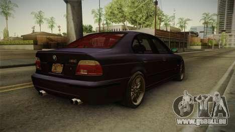 BMW M5 E39 Stock 2001 für GTA San Andreas zurück linke Ansicht