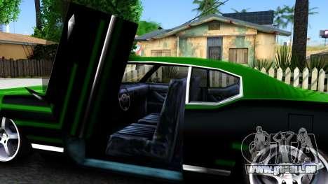 Sabre Drift Green Strips pour GTA San Andreas vue intérieure