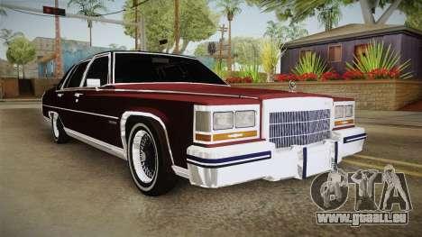 Cadillac Fleetwood Brougham Low Rider 1980 pour GTA San Andreas vue de droite