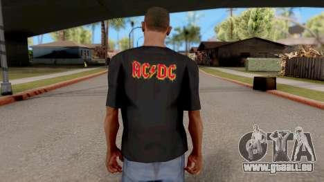 Black T-Shirt AC/DC für GTA San Andreas dritten Screenshot