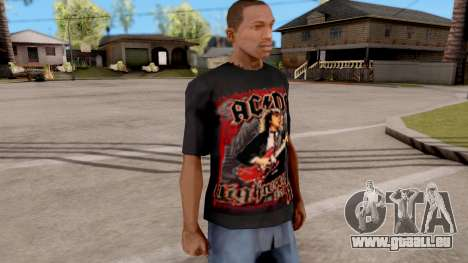 Black T-Shirt AC/DC für GTA San Andreas zweiten Screenshot