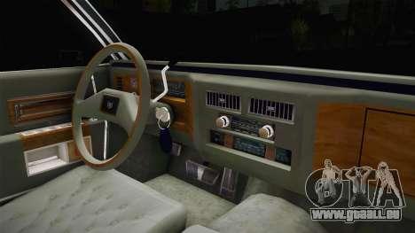 Cadillac Fleetwood Brougham Low Rider 1980 pour GTA San Andreas vue intérieure