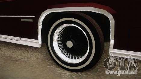 Cadillac Fleetwood Brougham Low Rider 1980 pour GTA San Andreas vue arrière