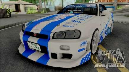 Nissan Skyline GT-R R34 1999 C-WEST Gawr Gura für GTA San Andreas